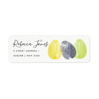 MODERN COLORFUL WATERCOLOR EASTER EGGS ADDRESS