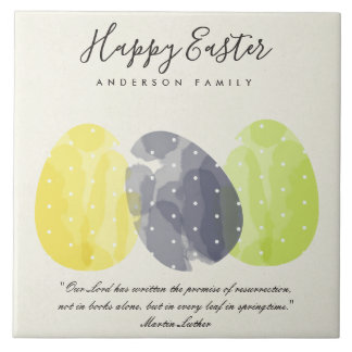 MODERN COLORFUL WATERCOLOR EASTER EGGS GIFT TILE