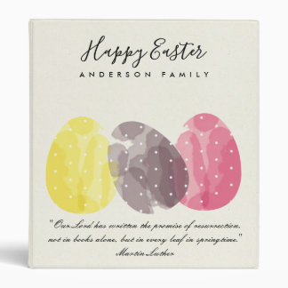 MODERN COLORFUL WATERCOLOR EASTER EGGS PERSONALIZE BINDER