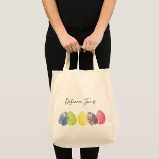 MODERN COLORFUL WATERCOLOR EASTER EGGS PERSONALIZE TOTE BAG