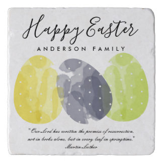 MODERN COLORFUL WATERCOLOR EASTER EGGS PERSONALIZE TRIVET