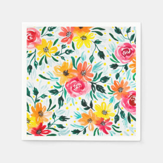 Modern Colorful Watercolor Flowers Disposable Napkins