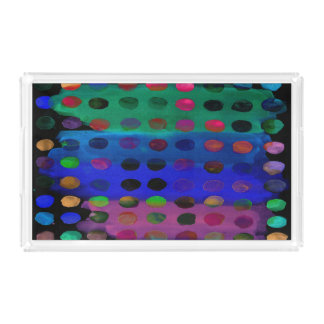 Modern Colorful Watercolor Spots and Stripes Acrylic Tray