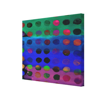 Modern Colorful Watercolor Spots and Stripes Canvas Print