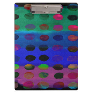Modern Colorful Watercolor Spots and Stripes Clipboard