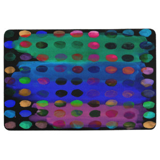 Modern Colorful Watercolor Spots and Stripes Floor Mat