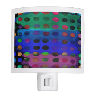 Modern Colorful Watercolor Spots and Stripes Night Lites