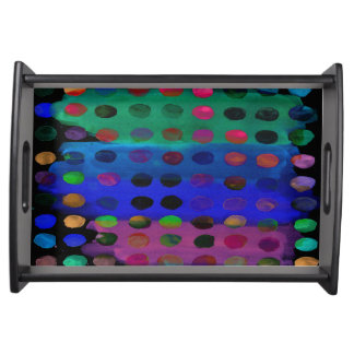 Modern Colorful Watercolor Spots and Stripes Serving Tray
