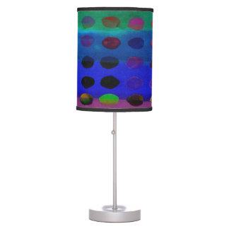 Modern Colorful Watercolor Spots and Stripes Table Lamp