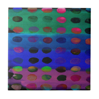 Modern Colorful Watercolor Spots and Stripes Tile