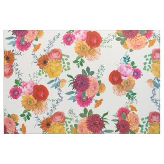 Modern Colorful Watercolors Flowers Fabric