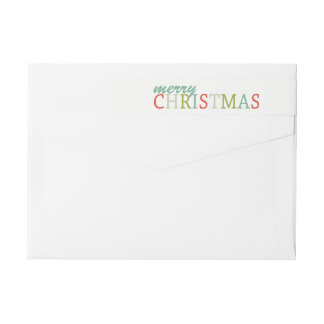 Modern Colors Merry Christmas wrap return address Wrap Around Label