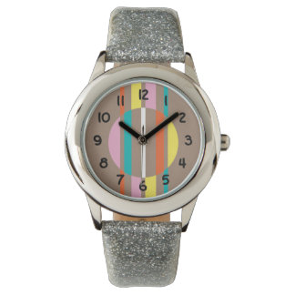 Modern colourful abstract stripes pattern watch
