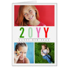 Modern Colourful Happy New Year Photo Collage Card