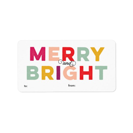 Modern Colourful Merry and Bright Gift Label
