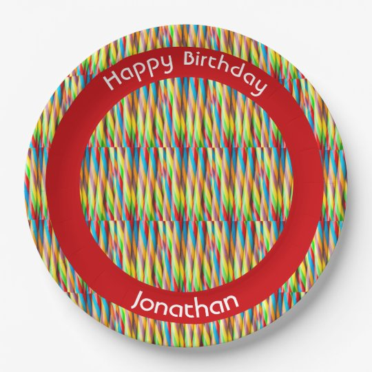 Modern Colourful Stripes Pattern Paper Plate