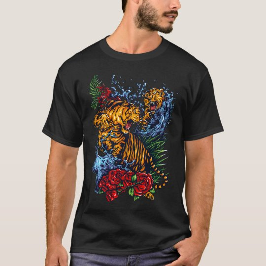 Modern Colourful Tigers Fight T-Shirt