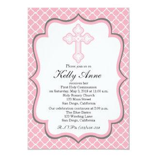 "Modern Communion Invitation Quatrefoil for Girls 5"" X 7"" Invitation Card"