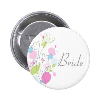 Modern Confetti bride wedding pin / button
