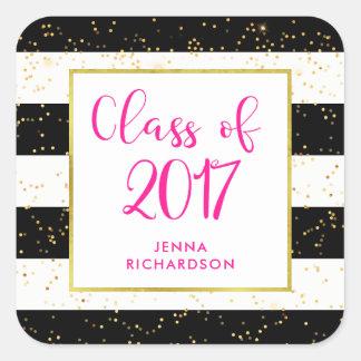 Modern Confetti   Class of 2017 Graduation Party Square Sticker