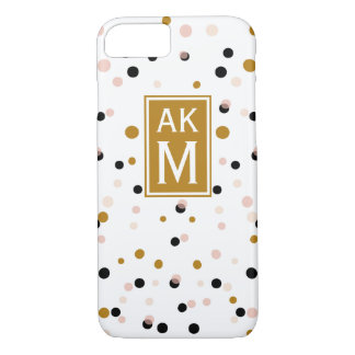 Modern Confetti Dots Monogram iPhone 7 Case