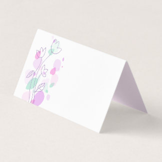 Modern confetti flower purple wedding place cards