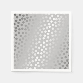 Modern Confetti Polka Dots Pattern Grey and Silver Paper Napkins