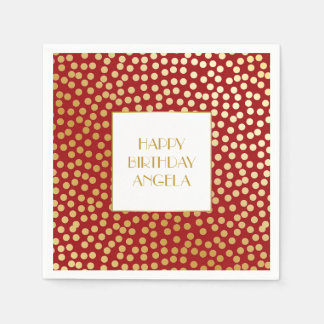 Modern Confetti Polka Dots Red and Gold Disposable Napkins
