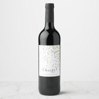 Modern Confetti, Purple and Green Wine Label