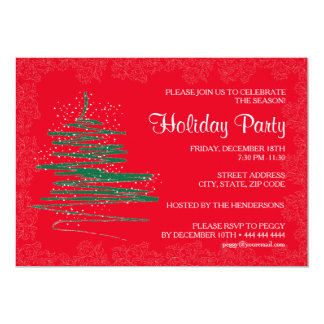Modern, Contemporary Holiday Party Red 5x7 Paper Card