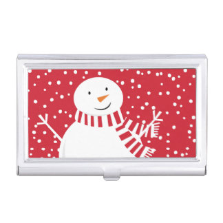 modern contemporary red and white snowman business card holder