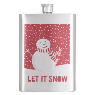 modern contemporary red and white snowman hip flask