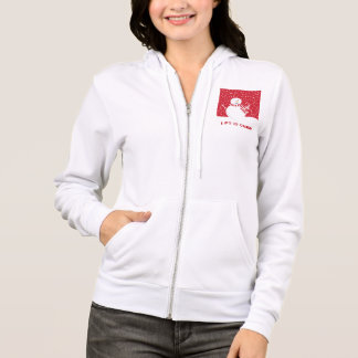 modern contemporary red and white snowman hoodie