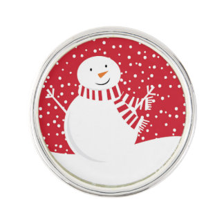 modern contemporary red and white snowman lapel pin