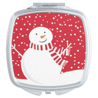 modern contemporary red and white snowman mirrors for makeup