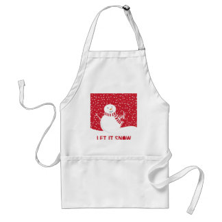 modern contemporary red and white snowman standard apron