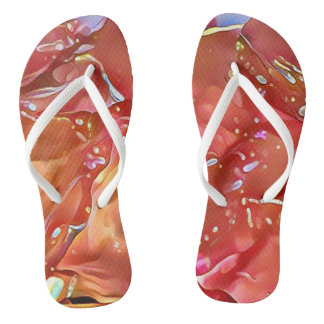 Modern Contemporary Shades of Peach Abstract Flip Flops