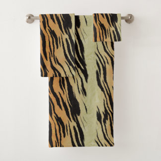 Modern Contemporary Tiger Pattern Bath Towel Set