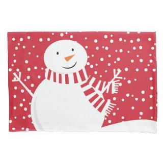 modern contemporary winter snowman pillowcase