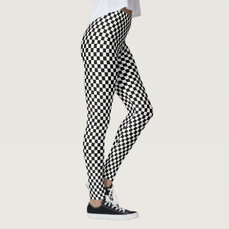 Modern Cool Black White Checks Checkered Pattern Leggings
