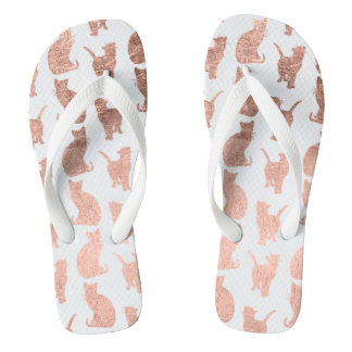 Modern cool rose gold cats pattern custom flip flops