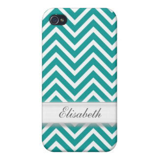 Modern, cool, trendy teal chevron zigzag pattern m iPhone 4 cover