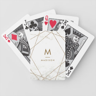 Modern Copper and Marble Geometric | Monogram Bicycle Playing Cards