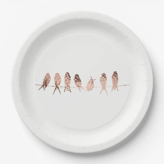 Modern Copper Birds on Wire | White Paper Plates 9 Inch Paper Plate