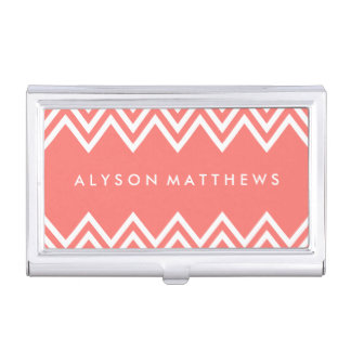 Modern Coral and White Chevron Business Card Holder