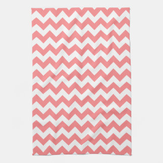 Modern Coral and White Chevron Zigzag Pattern Kitchen Towel
