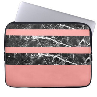Modern coral black white marble stripes laptop sleeve