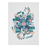 Modern coral blue watercolor floral illustration poster
