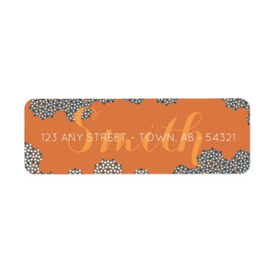 Modern Coral Bubbles Abstract Orange Blue & Teal Return Address Label