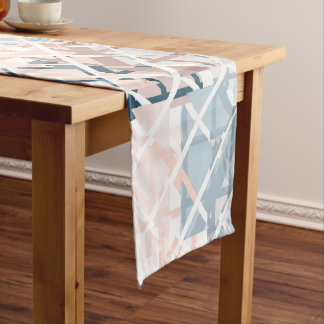 Modern Coral Geometric Square Shape Pattern Short Table Runner